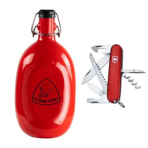 Kit aventura : botella personalizada Le Grand Tétras + cuchillo suiza Camper