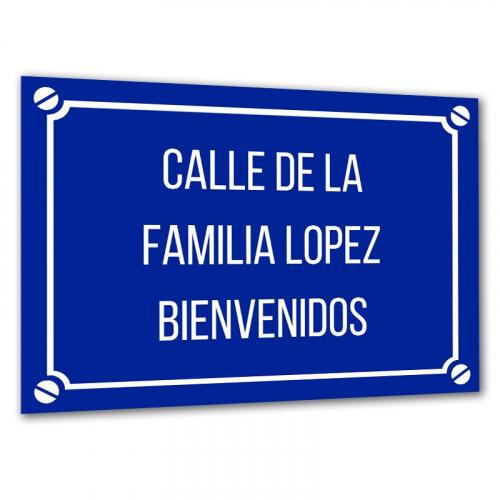 Placa de calle personalizada
