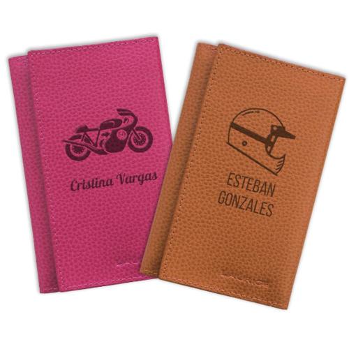 porta-documentos para la moto en cuero personalizado
