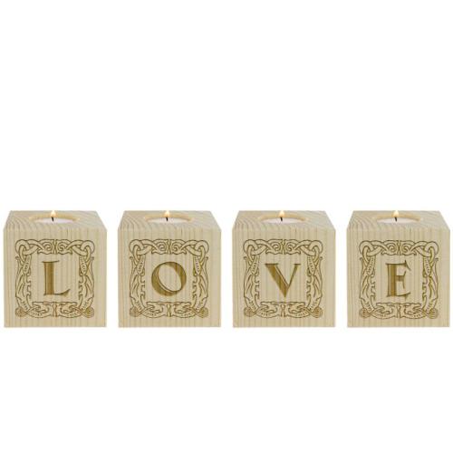 Portavelas mini cubo de letras