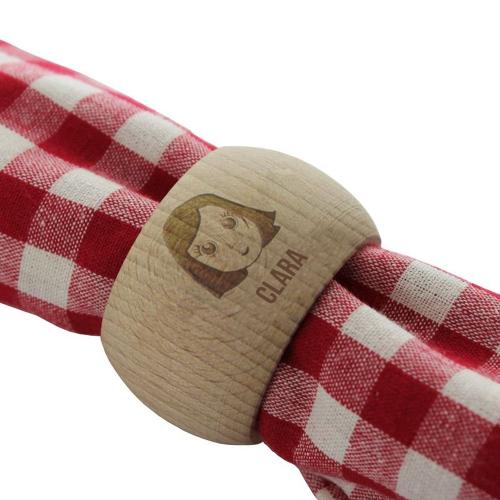 Servilletero personalizado en madera we are family