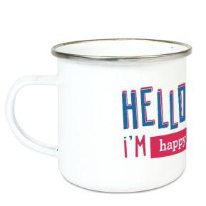 Taza esmaltada personalizada Hello