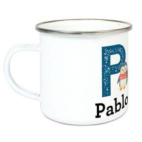 Taza esmaltada personalizada alfabeto y animal
