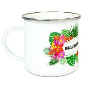 Taza esmaltada personalizada flores exóticas