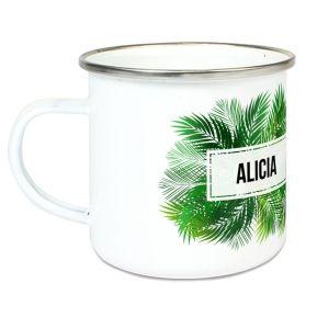 Taza esmaltada personalizada palmeras