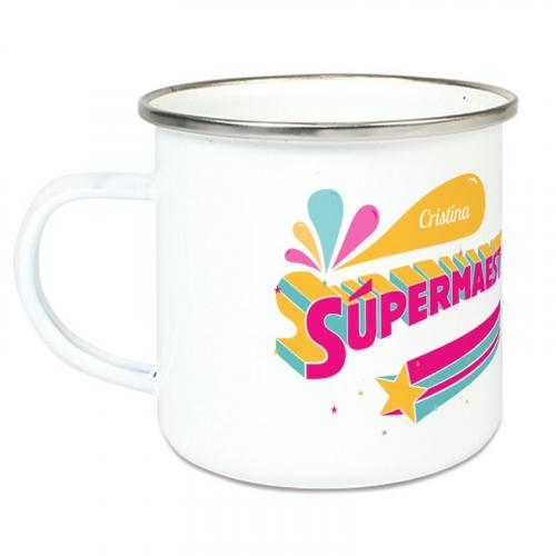Taza esmaltada personalizada Súper Maestra