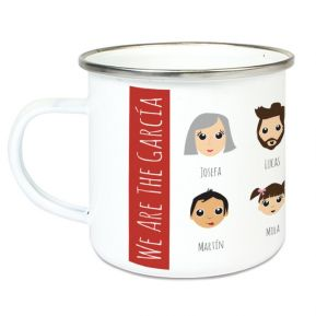 Taza esmaltada personalizada We Are Family