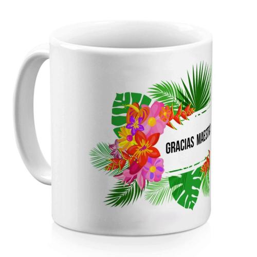 Taza personalizada flores exoticas