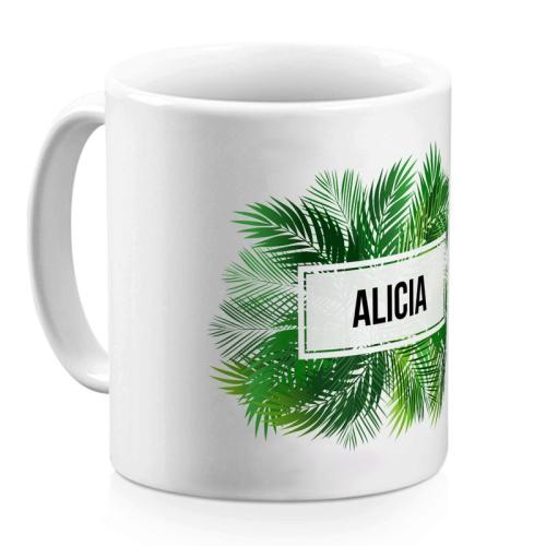 Taza personalizada palmeras con un nombre