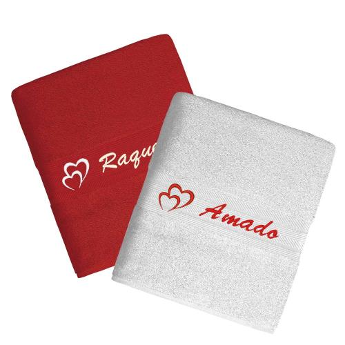 Toallas personalizadas rojo/blanco
