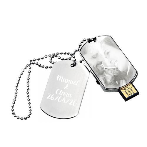 Colgante con placa grabada y USB 16Go con foto