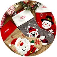 Botas de Navidad y gorros bordados