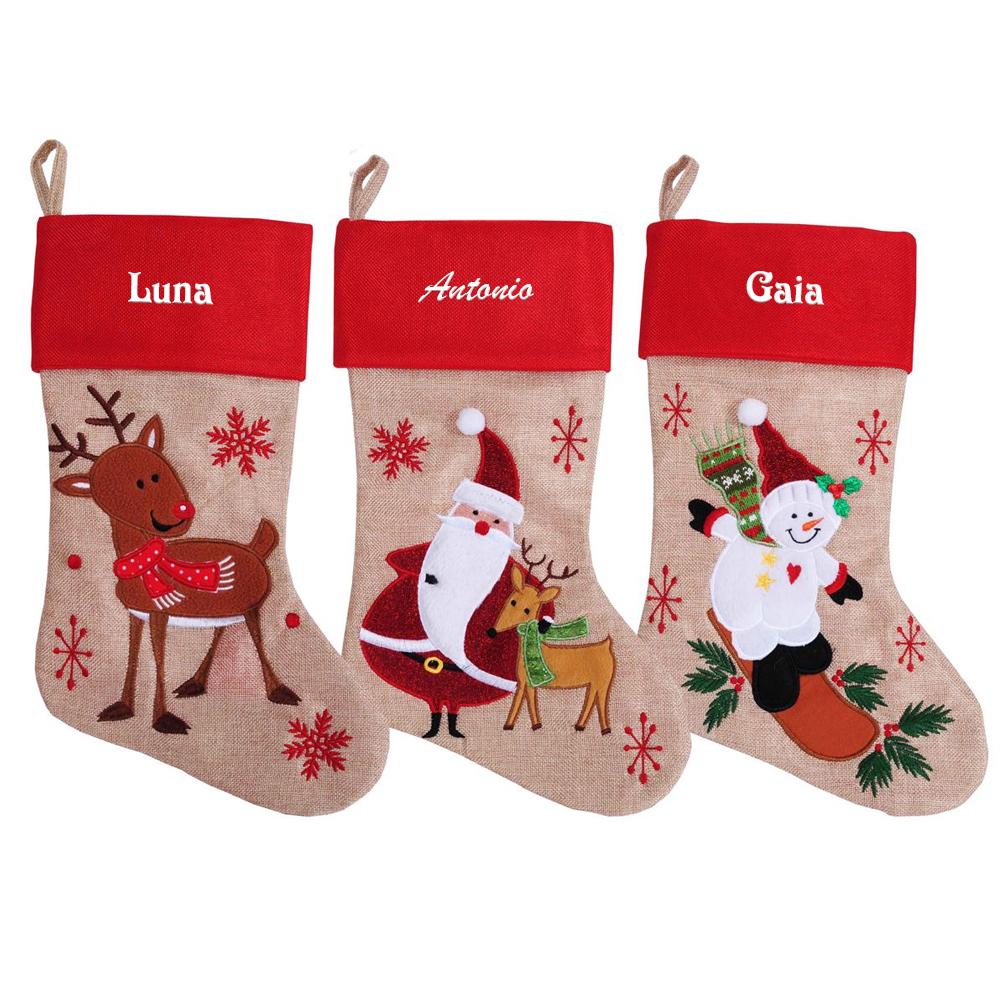 Bota navideña tipo lino bordada con nombre