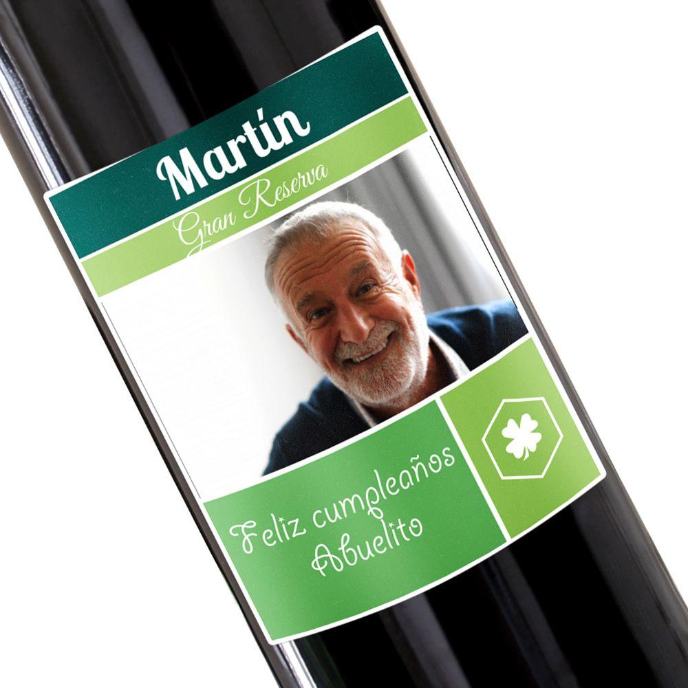 Botella de vino personalizada con foto