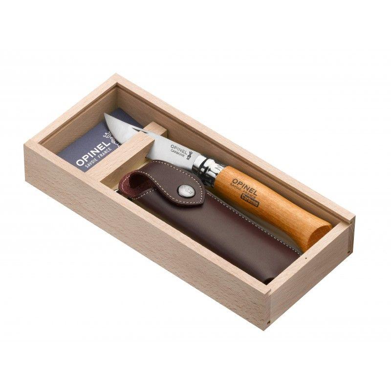 Caja para navaja Opinel no 8 en carbono grabado