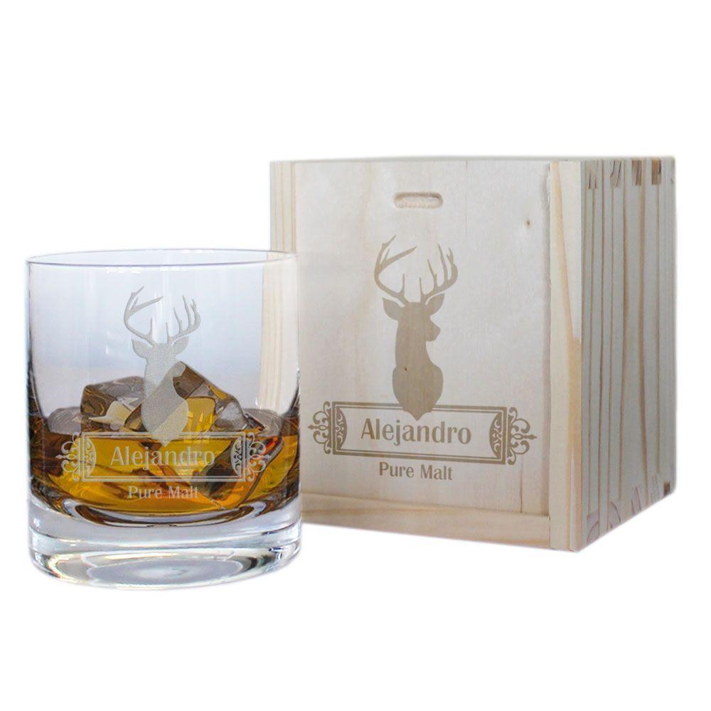 Vaso de whisky personalizado ciervos