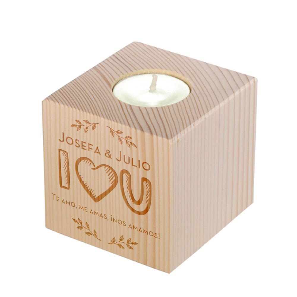 Portavela de madera personalizado Amor